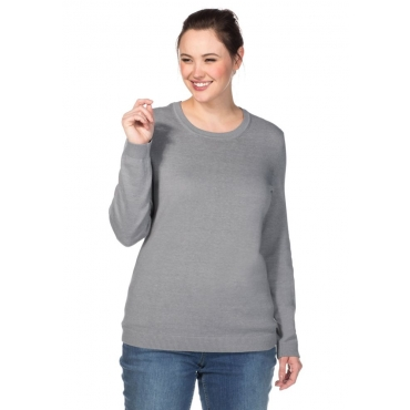 Große Größen: BASIC Pullover, grau meliert, Gr.40/42-56/58