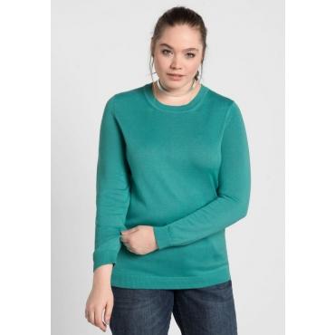 Große Größen: BASIC Pullover, karibiktürkis, Gr.40/42-56/58