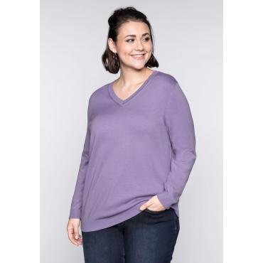 Große Größen: BASIC Pullover, lavendel, Gr.44/46-56/58
