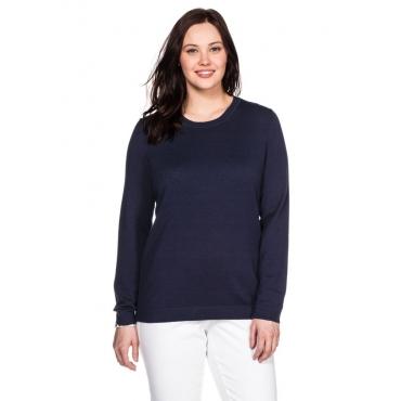 Große Größen: BASIC Pullover mit Rundhalsausschnitt und Rippbündchen, marine, Gr.40/42-56/58