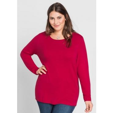 Große Größen: BASIC Pullover mit Rollkanten an allen Abschlüssen, dunkelpink, Gr.44/46-56/58