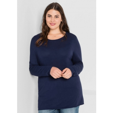 Große Größen: BASIC Pullover mit Rollkanten an allen Abschlüssen, marine, Gr.44/46-56/58