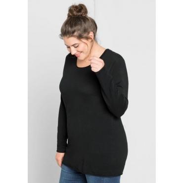 Große Größen: BASIC Pullover mit Rollkanten an allen Abschlüssen, schwarz, Gr.44/46-56/58