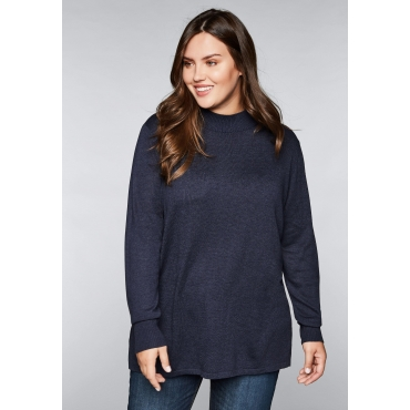Große Größen: BASIC Pullover mit Stehkragen, marine meliert, Gr.44/46-56/58