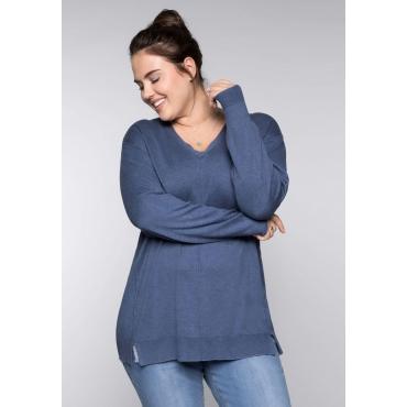 Große Größen: BASIC Pullover mit Teilungsnaht und Seitenschlitzen, rauchblau meliert, Gr.44/46-56/58