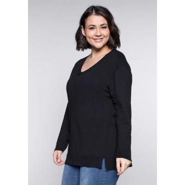 Große Größen: BASIC Pullover mit Teilungsnaht und Seitenschlitzen, schwarz, Gr.44/46-56/58