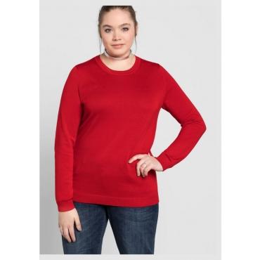 Große Größen: BASIC Pullover, mohnrot, Gr.40/42-56/58