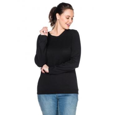 Große Größen: BASIC Pullover mit Rundhalsausschnitt und Rippbündchen, schwarz, Gr.40/42-56/58