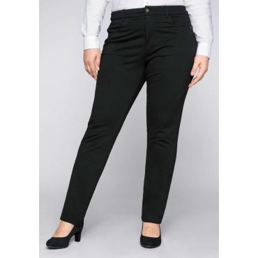 Große Größen: BASIC Schmale Hose aus Interlock, schwarz, Gr.44-58