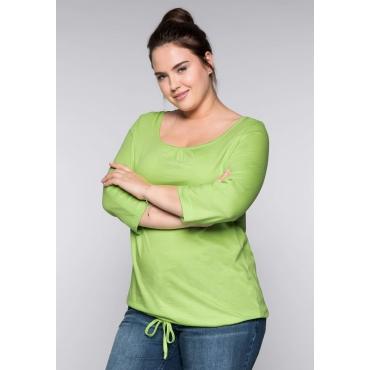 Basic-Shirt mit krempelbaren Ärmeln, lindgrün, Gr.44/46-56/58