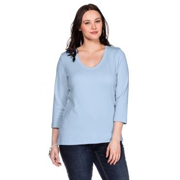 Große Größen: BASIC Shirt mit 3/4-Arm, hellblau, Gr.40/42-56/58