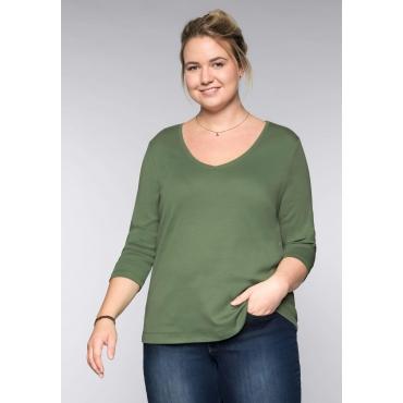 Große Größen: BASIC Shirt mit 3/4-Arm, khaki, Gr.44/46-56/58
