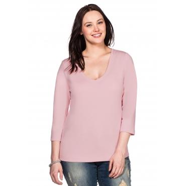 Große Größen: BASIC Shirt mit 3/4-Arm, rosé, Gr.40/42-56/58
