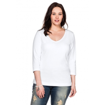 Große Größen: BASIC Shirt mit 3/4-Arm, weiß, Gr.40/42-56/58