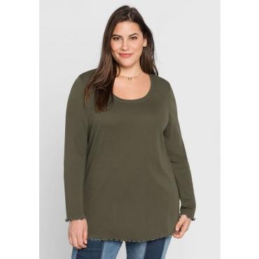 Große Größen: BASIC Shirt mit Babylock-Nähten, dunkelkhaki, Gr.44/46-56/58