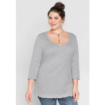 Große Größen: BASIC Shirt mit Babylock-Nähten, grau meliert, Gr.44/46-56/58