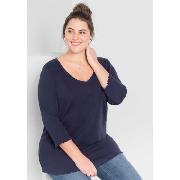 Große Größen: BASIC Shirt mit Babylock-Nähten, marine, Gr.44/46-56/58