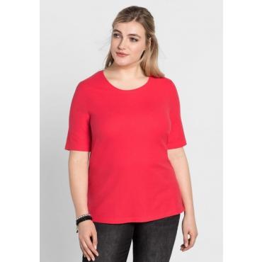 Große Größen: BASIC-Shirt mit Halbarm, hibiskus, Gr.40/42-56/58