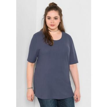 Große Größen: BASIC-Shirt mit Halbarm, jeansblau, Gr.40/42-56/58
