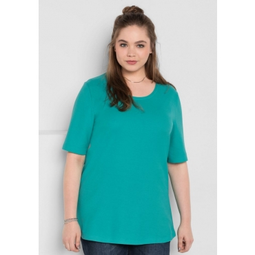 Große Größen: BASIC-Shirt mit Halbarm, karibiktürkis, Gr.40/42-56/58