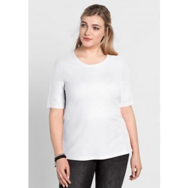 Große Größen: BASIC-Shirt mit Halbarm, weiß, Gr.40/42-56/58