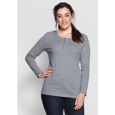 Große Größen: BASIC Shirt mit Serafinokragen, grau meliert, Gr.40/42-56/58