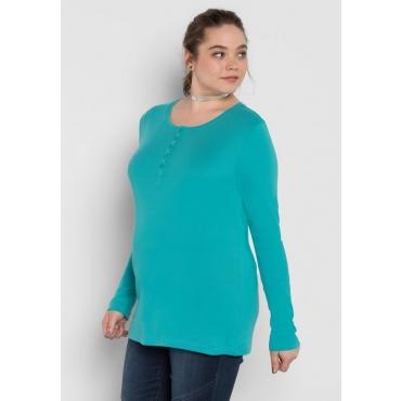 Große Größen: BASIC Shirt mit Serafinokragen, karibiktürkis, Gr.40/42-56/58