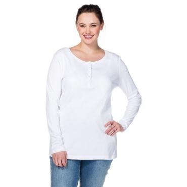 Große Größen: BASIC Shirt mit Serafinokragen, weiß, Gr.40/42-56/58