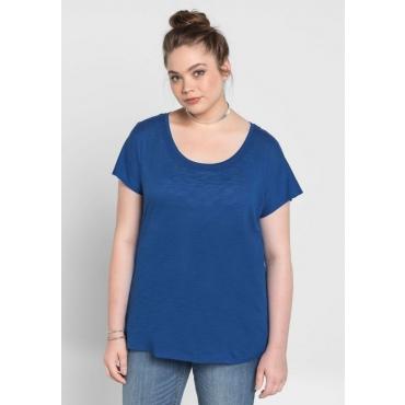 Große Größen: BASIC Shirt mit überschnittener Schulter, indigo, Gr.40/42-56/58