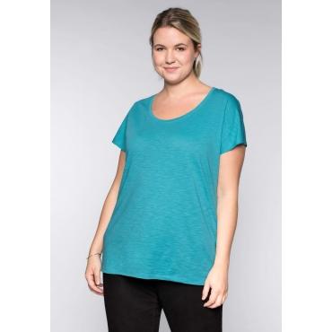BASIC Shirt mit überschnittener Schulter, karibiktürkis, Gr.44/46-56/58
