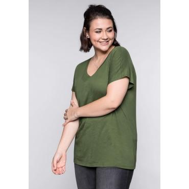 Große Größen: BASIC Shirt mit überschnittener Schulter, khaki, Gr.44/46-56/58