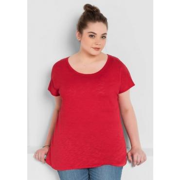Große Größen: BASIC Shirt mit überschnittener Schulter, mohnrot, Gr.40/42-56/58