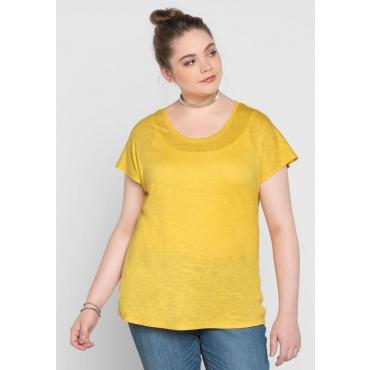 Große Größen: BASIC Shirt mit überschnittener Schulter, sonnengelb, Gr.40/42-56/58