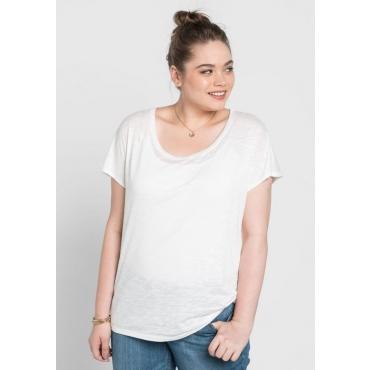 Große Größen: BASIC Shirt mit überschnittener Schulter, weiß, Gr.40/42-56/58