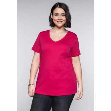 Große Größen: BASIC Shirt mit V-Ausschnitt, dunkelpink, Gr.44/46-56/58