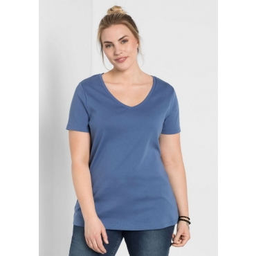 BASIC Shirt mit V-Ausschnitt, rauchblau, Gr.44/46-56/58