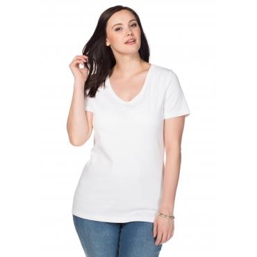 Große Größen: BASIC Shirt mit V-Ausschnitt, weiß, Gr.40/42-56/58