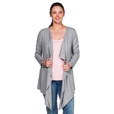 Große Größen: BASIC Shirtjacke in Zipfeloptik, grau meliert, Gr.40/42-56/58