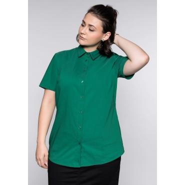 Große Größen: BASIC Stretch-Bluse mit kurzem Arm, blattgrün, Gr.44-58