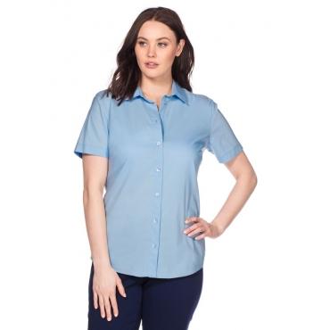 Große Größen: BASIC Stretch-Bluse mit kurzem Arm, hellblau, Gr.40-58
