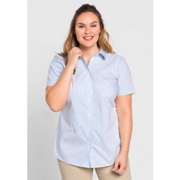 84c7fd4aa0 Große Größen: BASIC Stretch-Bluse mit kurzem Arm, hellblau-weiß, Gr