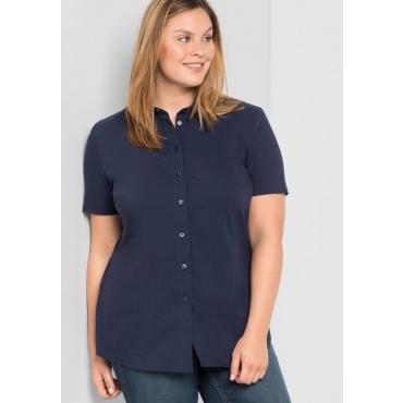 Große Größen: BASIC Stretch-Bluse mit kurzem Arm, marine, Gr.44-58