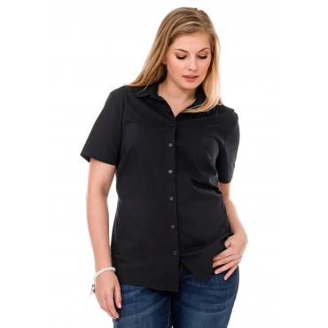 Große Größen: BASIC Stretch-Bluse mit kurzem Arm, schwarz, Gr.40-58