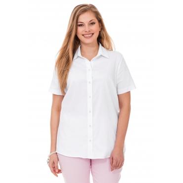 Große Größen: BASIC Stretch-Bluse mit kurzem Arm, weiß, Gr.40-58
