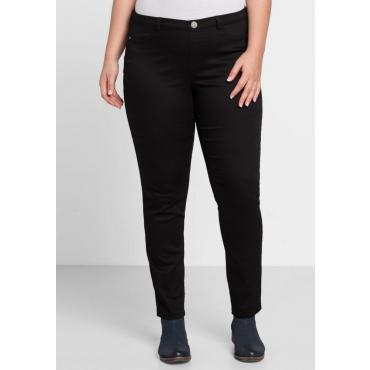 Große Größen: BASIC Stretch-Hose mit zwei Ziertaschen, schwarz, Gr.44-58
