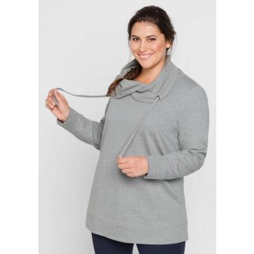 Große Größen: BASIC Sweatshirt mit weitem Kragen, grau meliert, Gr.44/46-56/58
