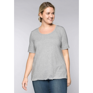 BASIC T-Shirt aus Viskosequalität mit längerem Halbarm, hellgrau meliert, Gr.44/46-56/58
