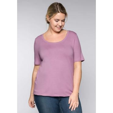 BASIC T-Shirt aus Viskosequalität mit längerem Halbarm, hellmauve, Gr.44/46-56/58