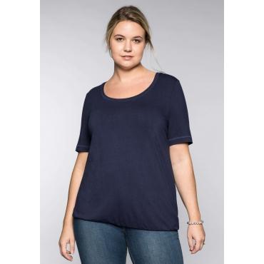 Große Größen: BASIC T-Shirt aus Viskose-Qualität mit längerem Halbarm, marine, Gr.44/46-56/58