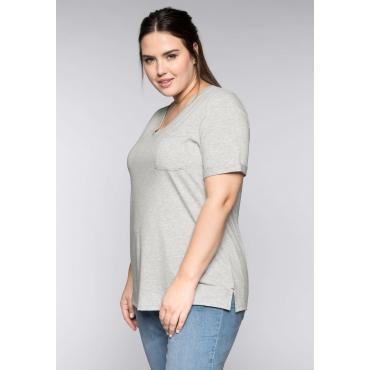Große Größen: BASIC T-Shirt aus Viskosequalität mit V-Ausschnitt, hellgrau meliert, Gr.44/46-56/58